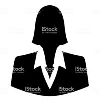 Businesswoman icon as avatar profile picture – isolated on white background